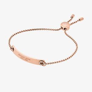 MK Pave Rose Gold Logo Plaque Slide Bracelet NWT